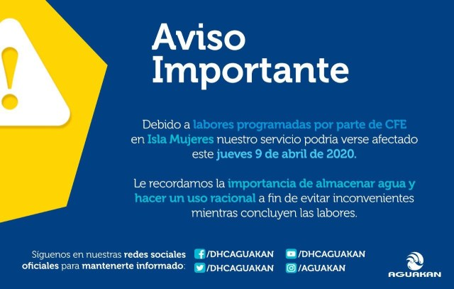Anuncian posibles interrupciones en servicio de agua en Isla Mujeres