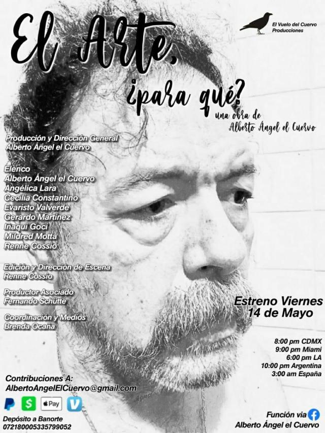 Alberto Ángel el Cuervo estrena obra y propone que el arte ayuda a encarar la pandemia