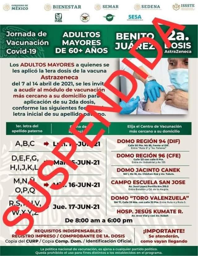 Suspenden jornadas de vacunación COVID-19 por fuertes lluvias en Cancún