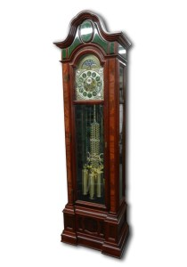 Grandfather clock inlaid with jade