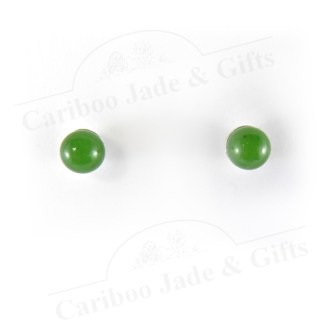 jade 6mm bead sterling silver stud earrings