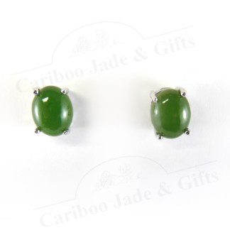 BC nephrite jade sterling silver earrings