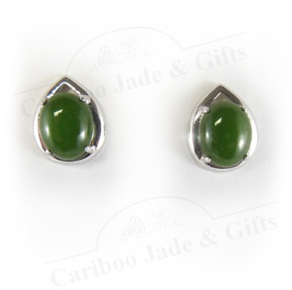 Sterling silver teardrop jade earrings