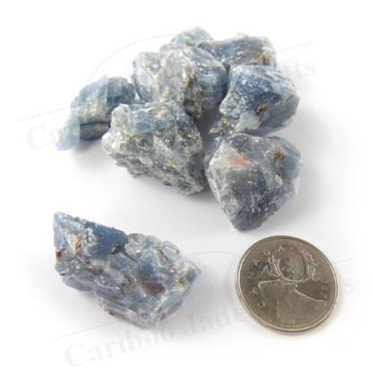 blue calcite pieces