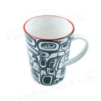 """porcelain mug """"raven transforming"""""""