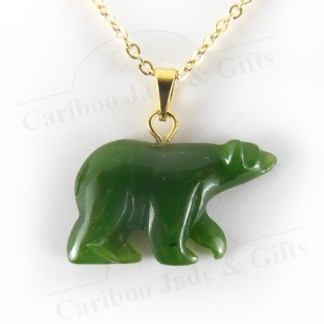 carved nephrite jade bear necklace