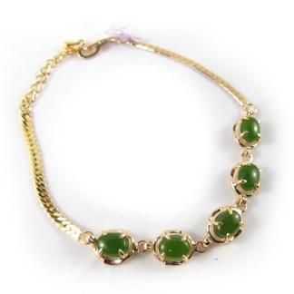jade cabochon link bracelet