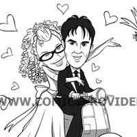 caricatura partecipazione nozze