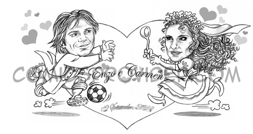 caricatura sposi mezzatinta per partecipazioni matrimonio