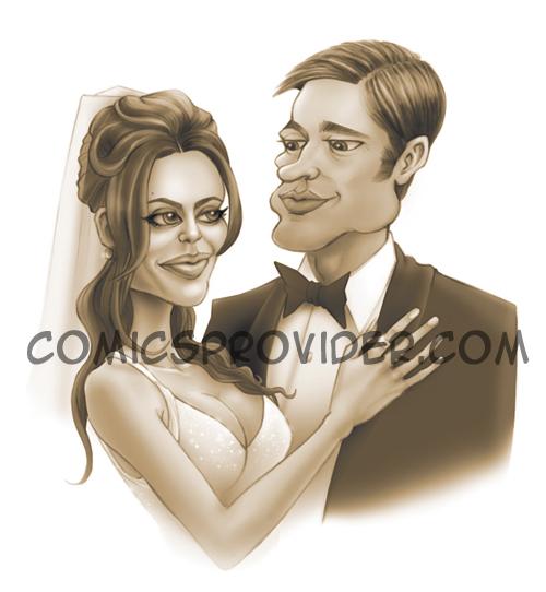 caricatura sposi per partecipazione matrimonio