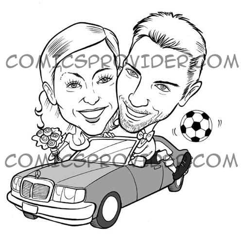Caricatura in bianco e nero per partecipazioni di matrimonio e inviti di nozze