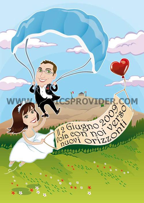 caricatura sposi in paracadute