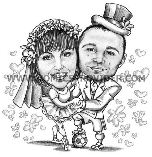 Caricatura sposi con loro passioni