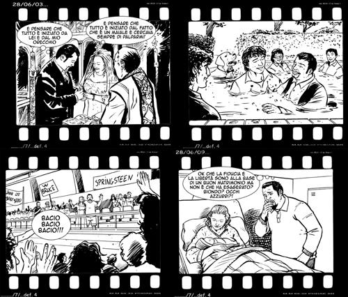 Ecco un esempio di come potete raccontare la vostra storia d'Amore a fumetti, in questo caso utilizzando una pellicola come fossero fotogrammi da un film: il vostro!