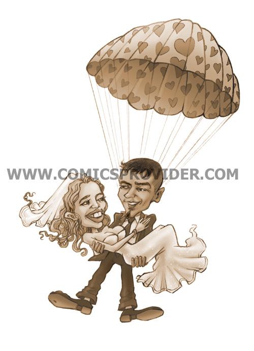 Caricatura realizzata per gli inviti di nozze di una coppia con la passione per il paracadutismo
