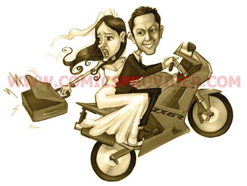 Caricatura sposi in Kawasaki ZX-6R per la realizzazione di un tableau di nozze
