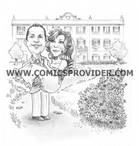 Sposi con alle spalle una villa