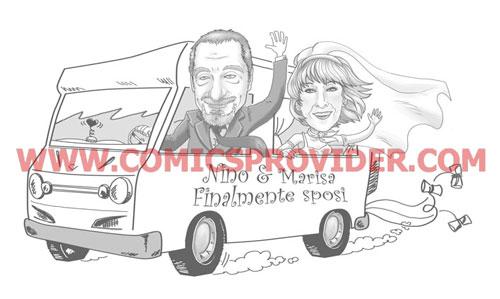 Simpatica partecipazione di nozze di due appassionati di viaggi in camper