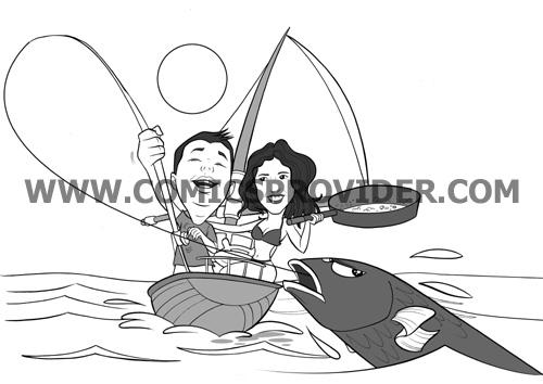 Invito di nozze con gli sposi ritratti mentre pescano in barca