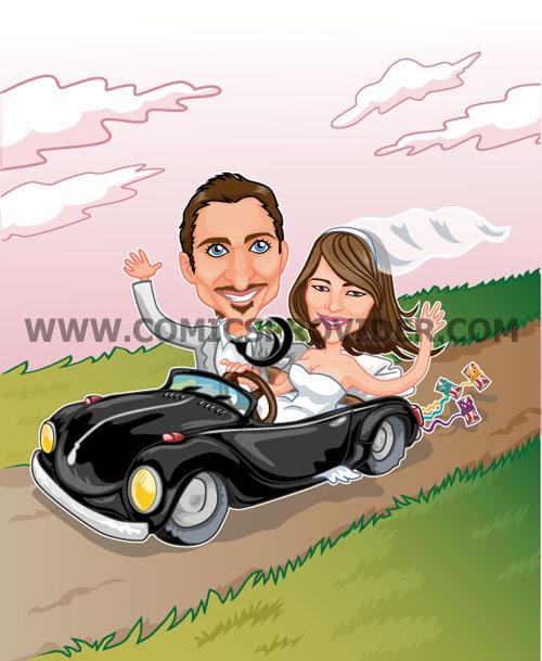Sposi su una macchina spider