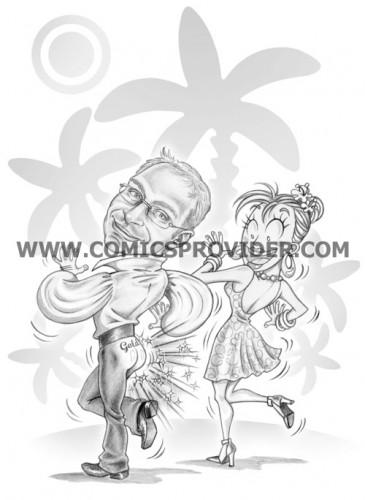Caricatura sposi ispirata al loro genere di danza preferito.