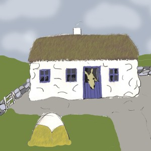 My memory of what the thatched house looked like, well minus the donkey looking over the half door.