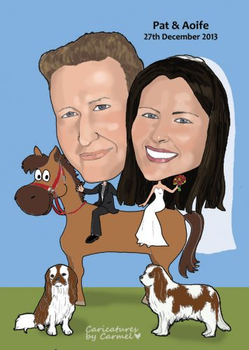 Caricature of a Bride and Groom on horses back with their beloved dogs