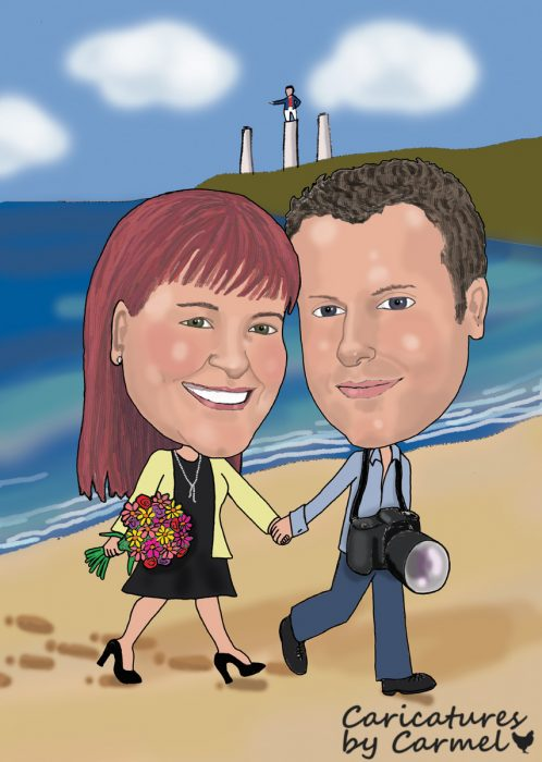 Caricature of happy couple walking on Tramore beach