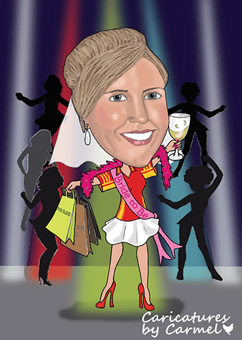 Hen party caricature for a bride who loves to shop and party.