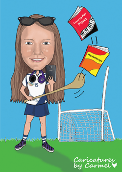 21st birthday caricature for Zoe who love camogie, music and reading.