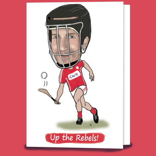 Caricature Cork hurling card created by Caricatures by Carmel, Waterford Ireland. Irish designed and made.