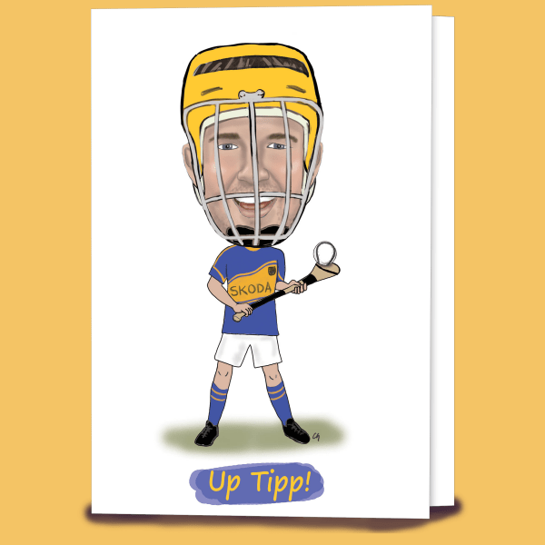 Caricature Tipperary Hurling Card created by Caricatures by Carmel.