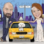 Caricature of bride and groom in NY with a NY yellow taxi. Wedding Invitation
