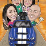 Family of 4 and their dog in a fancy car on route 66 caricature