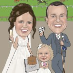 Bride & Groom at the races caricature
