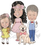 Pretty Bowtique business logo which includes a caricature of her 3 children and their dog.