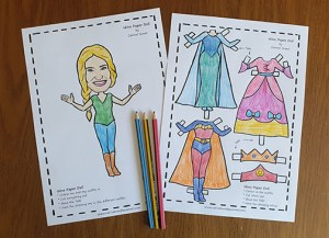 Idina Paper doll coloured in
