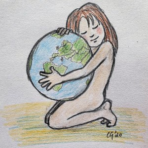 save the world drawing by Carmel Grant