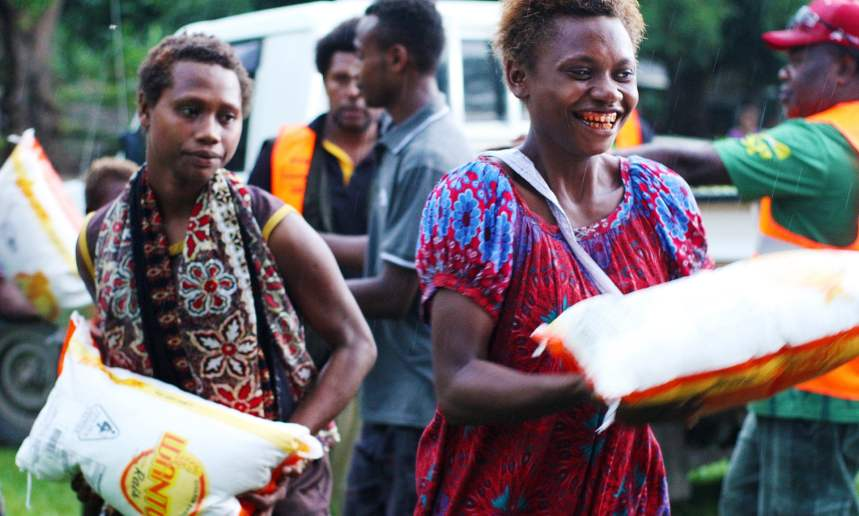 Community food donations at Raluana, one of the quarantined areas in East New Britain, which was locked down following a confirmed case of coronavirus.