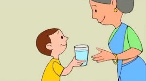 mother offering water to kid