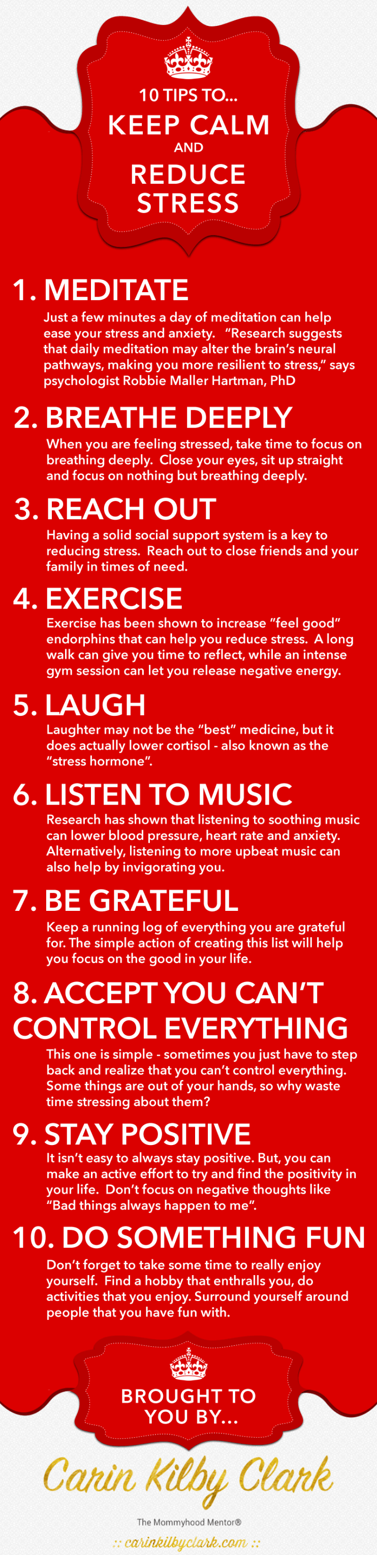 10 Tips to Keep Calm & Reduce Stress [Infographic] via @carinkilbyclark