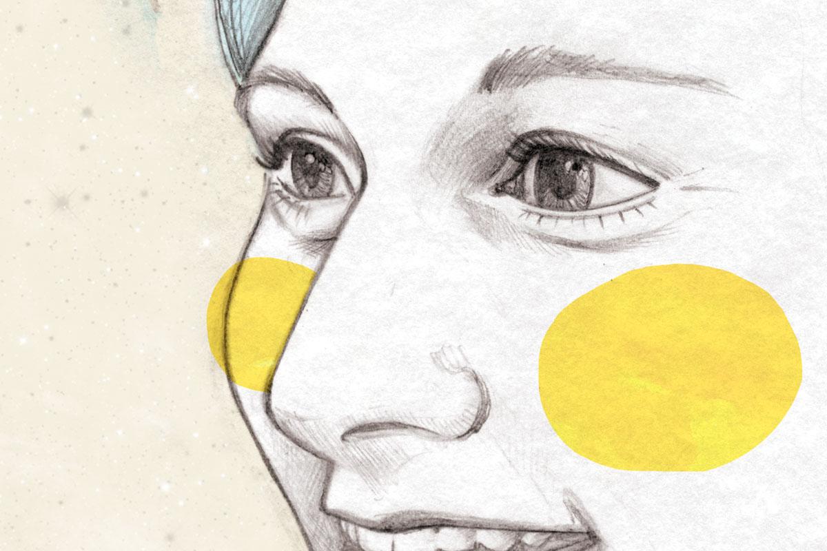 AstroSam, ritratto di Samantha Cristoforetti di Carin Marzaro, illustrazione digitale