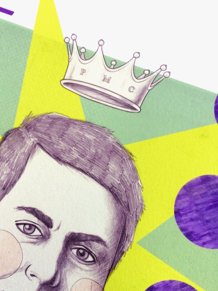 PMC (piermario ciani) portrait, print detail, illustration by Carin Marzaro
