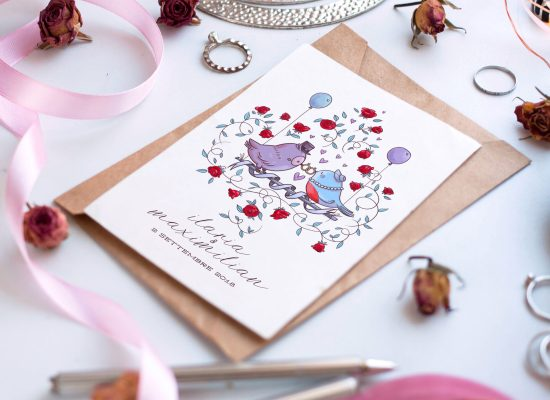Wedding stationery, invitation and illustration by Carin Marzaro. Illustrazione e invito per matrimonio.