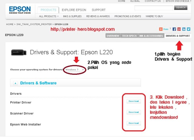 Cara melakukan Download Driver Printer Epson L220