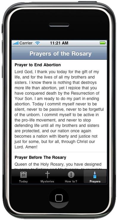 ProLife Rosary iPhone App-Prayers