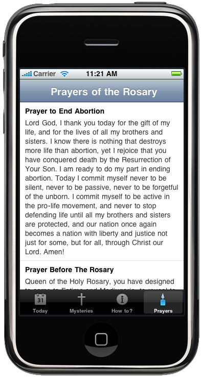ProLife Rosary iPhone App-Prayers