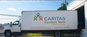 CARITAS Furniture Bank truck side view smaller size