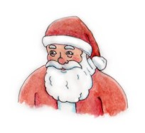 Xmas watercolours - Santa