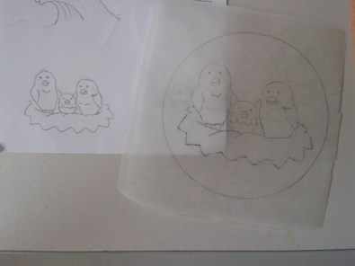Paper drawing and scaled-up tracing